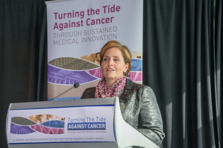 Shelley Fuld Nasso, CEO, National Coalition for Cancer Survivorship, addressing the role of payment reforms in supporting innovative cancer care at the Turning the Tide Against Cancer 2014 national conference (Photo: Liz Roll)